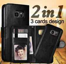 Samsung Galaxy S6 leather wallet case with detachable magnetic phone holder