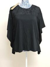 QVC DG2 DIANE GILMAN Women Lace Cotton Kimono Casual Top Oversized Blouse Small