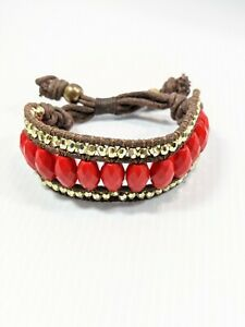 Artisan Brown Cord Red Acrylic Bead Gold Tone Tribal Style Adjustable Bracelet
