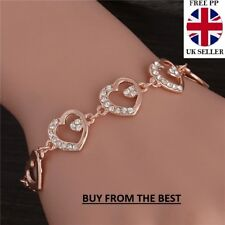 ROSE GOLD PLATED MADE WITH SWAROVSKI CRYSTALS HEART BRACELET MOTHERS DAY GIFT