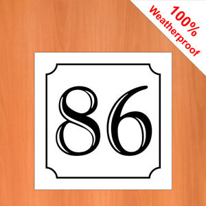 "3"" Weatherproof self-adhesive vinyl House number sticker 51- 99 Black on White"