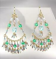 GORGEOUS Blue Topaz  Multicolor Crystals Peruvian Beads Gold Chandelier Earrings