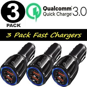 3 Pack 2 USB Port Fast QC 3.0 Car Charger for iPhone Samsung Android Cell Phone