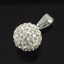 Shamballa Anhänger Perle Kugel weiß Kristall Glitzerkugel Disko 15 mm crystal