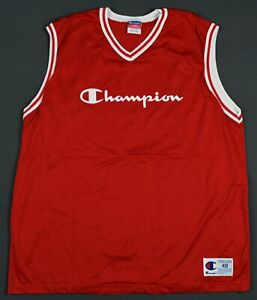 Vintage 90's Champion Spell Out Basketball Jersey Size 48 XL Red