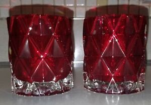 2 Yankee Candle RED Diamond Cut Glass Fractal Votive Tea Light Candle Holder New
