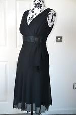 NEW DEBENHAMS women V-neck black sleeveless evening party christmas dress uk 14