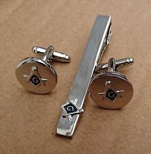 Masonic Cuff Links Tie Clip Set,Silver Plated,Silver/Blue