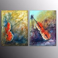 FRAMED Oil Painting Canvas Art Print Violin Wall Art Painting Home Decor-2pcs