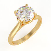 2Ct Round-Cut Brilliant Diamond Solitaire Engagement Ring 14k Yellow Gold Finish