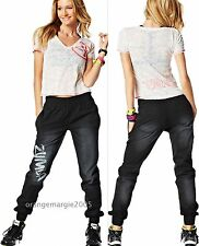 ZUMBA 2Pc.SET! Black Denim Stretch Pants + Burn Out V Tee -RARE EliteZW S M L XL
