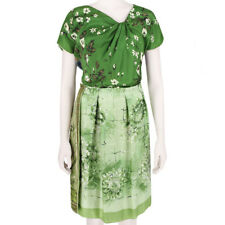 Clements Ribeiro Exquisite Green Tones Unique Silk Scarf Dress IT44 UK12