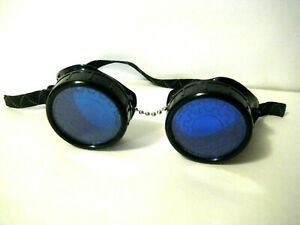 Rave Goggles Glasses With Round Blue Lenses Punk Festival Cosplay