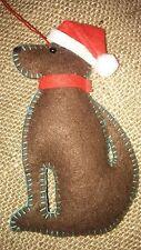 Chocolate Labrador dog realizzato a mano porta STAFFA feltro albero di Natale Decorazione