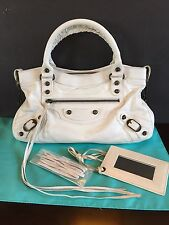 Auth BALENCIAGA City Off White Leather 2-Way Hand Shoulder Tote Bag Purse
