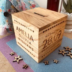 Personalised Newborn Baby Boy Girl Gift Present Christening Keepsake Money Box