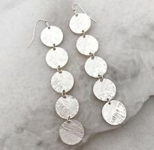 Circle Discs Earrings Long Statement Earring coin Silver tone  - USA seller