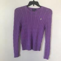 POLO RALPH LAUREN Purple Cable Knit Logo Pima Cotton Pullover Sweater Size L