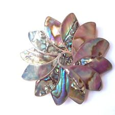 Sterling Silver .925 and Abalone Pin Brooch, Signed Jose NS Taxco Mexico