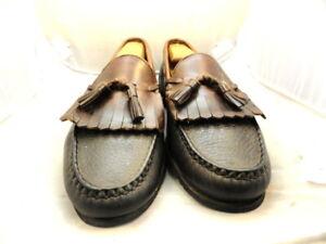 """Allen Edmonds Mens Shoes """"Nashua"""" Tassel Loafers Black w/ Brown Trim 10 D (107)"""