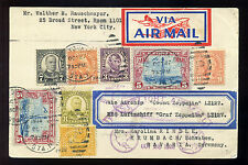 1928 Zeppelin First Flight Card Stamps with Prince and Whitey Perfins w/Cert!!!!