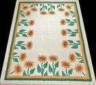 Antique+1930%27s+Hand+Stitched+9+spi+Cheddar+Brown+Green+Sunflower+Quilt+88x71