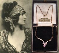 ANTIQUE ART DECO 1920s BOHEMIAN CZECH FIERY OPAL GLASS CABOCHON NECKLACE PRETTY