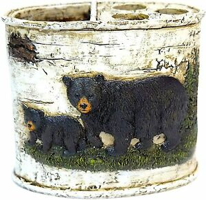 BestGiftEver Black Bear Toothbrush Holder Bathroom Accessories Cabin Lodge Décor