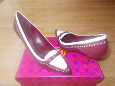 60ae21d83d6f Tory Burch Darlene Pointy Toe Shoes Buckle Red Cabernet Ivory sz 10.5 M NEW