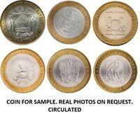 HIGH GRADE * SET 2007  6 BI-METALLIC RUSSIAN COINS 10 RUBLES REGIONS OF RUSSIA