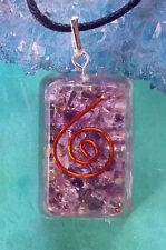 LARGE ENERGIZED ORGONE  AMETHYST CRYSTAL PENDANT WITH COPPER COIL AND HEMP CHAIN