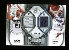 Tim Duncan Dwight Howard 2009 SP Game Used Combo Materials Mint 32747