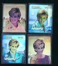 GRENADA,GUYANA,ST.VINCENT,1998,Lady Diana, hologram, 3d ,SET, MNH