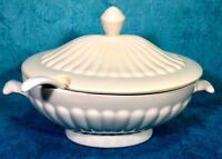 Beautiful Handmade 3 Quart Oval Soup Tureen W/ Cover & Ladle Highly Detailed