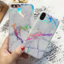 For iPhone 6 7 8 Plus X Case Marble Iridescent Holographic Holo For Samsung S9