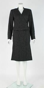 CHANEL Grey Cashmere Fitted Skirt Suit, UK 8 US 4 EU 36