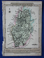 Original antique map, NOTTINGHAMSHIRE, WORKSOP, NEWARK, J. Wallis c.1814