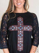 Southern Grace Cross on Black Burnout Women's Shirt w/Lace 3/4 Sleeves 2XL