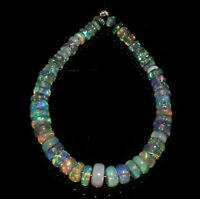"8.71 TCW NATURAL ETHIOPIAN WELO FIRE OPAL  ROUNDEL BEADS 4""DEMI STRAND S6348"