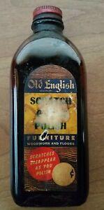 Vtg Old English Furniture & Scratch Cover Polish Glass Bottle 1950's 1/3 Full