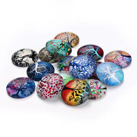 Flatback 10-25mm Round Photo Glass Cabochon Mixed Colorful Tree Cameo Jewelry