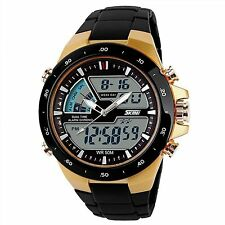 Skmei Black Dial And Straps With Gold Case Digital Sports Watch For Men!