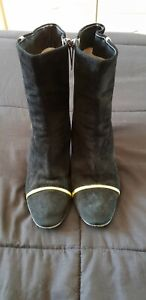 EMANUEL UNGARO Suede Leather Ankle Boots Size 37 Made In Italy C17