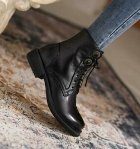 Women's Real Leather Ankle Boots Casual Shoes Lace Up Winter British Boots Black
