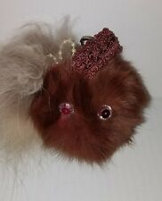 Real Mink Fox Fur Keychain Pompom Monster Face