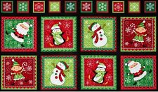 18 CHRISTMAS HOLIDAY PENGUIN ELF SNOWMAN SANTA SNOWFLAKE PANELS QUILT HOME DECOR