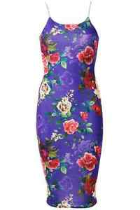 Womens Ladies Floral Print Cami Bodycon Valentines Stretch Midi Cocktail Dress