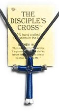 Disciples Cross 3.5 (1 cross) Christian, Catholic, Gift, Silver Blue Color