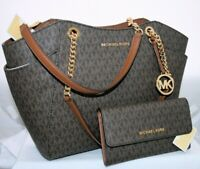 New Michael Kors MK Brown Signature Jet Set Large Bag Shoulder Tote Wallet Set