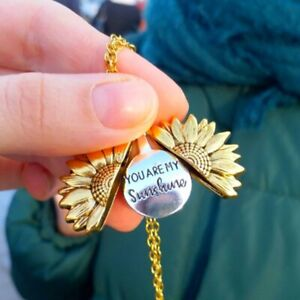 """""""You Are My Sunshine"""" Open Sunflower Pendant Necklace Choker Chain Women New"""